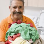 Doing laundry as part of his path to Householder Enlightenment